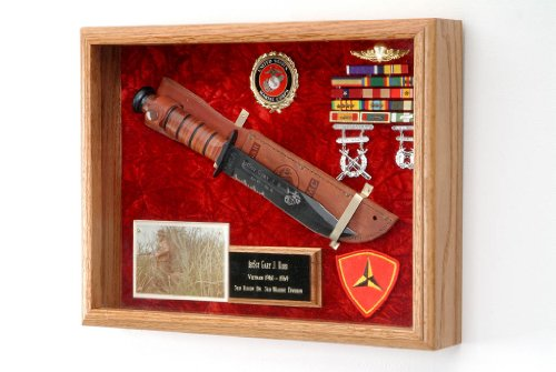 Oak Wooden Box Gift Knife - All American Gifts Military Knife or Pistol Display Case - wall mount shadow box - 16