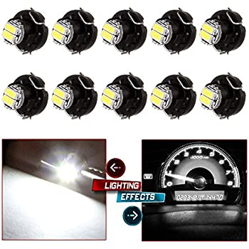 CCIYU 10 Pack Blue T3 2-3014 SMD Neo Wedge 35852-SEP-A02 A/C Climate Control LED Light Bulbs (white)