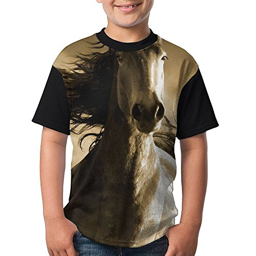 Running Horse Youth Boy's Short Sleeve Crew Neck Tops T-Shirt (Horse Fancy Dress Ideas Halloween)