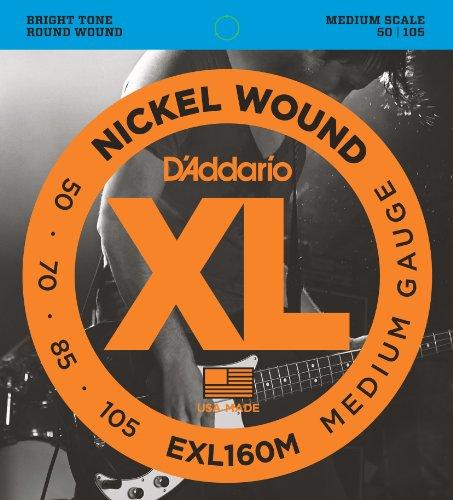 D'Addario EXL160M Nickel Wound Bass Guitar Strings, Medium,