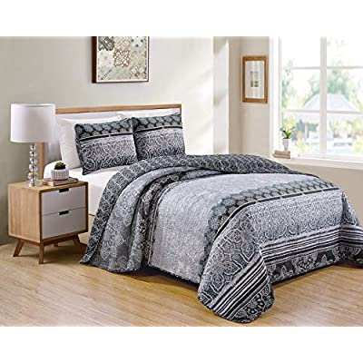 Kids Zone Home Linen 2 Piece Twin/Twin Extra Long Over Size Bedspread Set Floral Pattern Grey Charcoal Black White Blue: Home & Kitchen