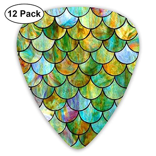 Vintage Mermaid Tail 351 Shape Classic Celluloid Guitar Pick For Electric Acoustic Mandolin Bass (12 Count)