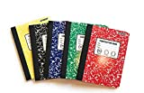 Bundle of 5 Wide Ruled Marbled Composition Notebooks; 1 of Each Color ;Red, Blue, Green, Yellow and Black