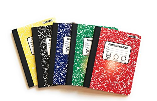 Bundle of 5 Wide Ruled Marbled Composition Notebooks; 1 of Each Color ;Red, Blue, Green, Yellow and Black by Unison