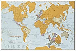 Scratch the World travel edition map print - 16.53 (w) x 11.69 (h) inches