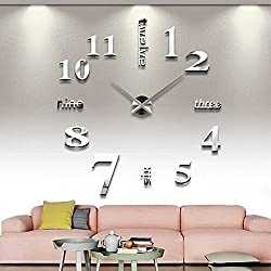 3D DIY Wall Clock, Timelike 1M Modern Frameless Large 3D DIY Wall Clock Kit Decoration Home for Living Room Bedroom (Silver)