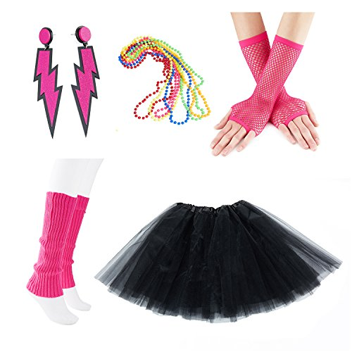 80s Outfits Party (80s Fancy Outfit Costume Accessories Set,Adult Tutu Skirt,Leg Warmers,Fishnet Gloves,Neon Earrings and Neon)