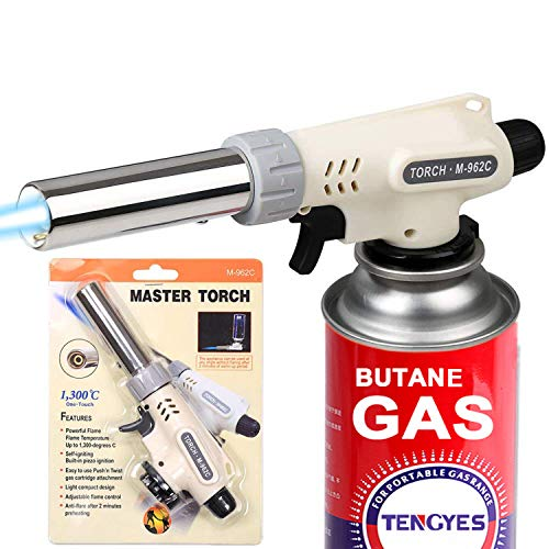 Kitchen Butane Blow Torch Lighter - Culinary Torch Chef Cooking Torches Professional Adjustable Flame with Reverse Use for Creme, Brulee, BBQ, Baking, Jewelry by TENGYES, Butane Not Included