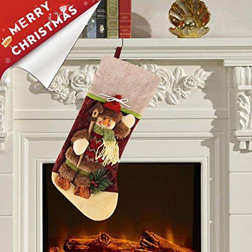 g Classic Christmas Stockings Decorations Gift Bag Xmas Character 3D Plush Linen Hanging Tag,17.5 Inch (Plush Snowman Christmas Stocking)
