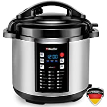 Mueller 10-in-1 Pro Series 18 Program 6Q Pressure Cooker with German ThermaV Tech, Cook 2 Dishes at Once, BONUS Tempered Glass Lid incl., Saute, Steamer, Slow, Rice, Yogurt, Cake, Maker, Sterilizer