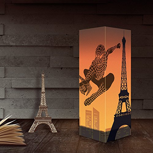 Table Lamp, Bedside Nightstand Lamp, Simple Desk Lamp, Eiffel Tower Paper Shadow Table Lamp for Bedroom, Dresser, Living Room, Baby Room, College Dorm, Coffee Table, Bookcase (Eiffel Bookcase Stand)
