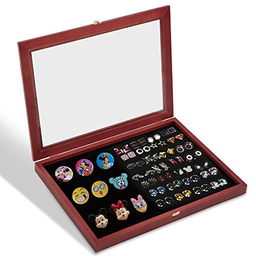 Yaheetech Wall Mount Shadow Box Collector Pin and Medal Display Case Holder Cabinet