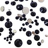 JET (280) black 144 pcs Swarovski 2058/2088 Crystal Flatbacks black rhinestones nail art mixed with Sizes ss5, ss7, ss9, ss12, ss16, ss20, ss30