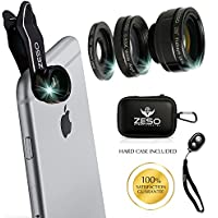 Iphone Lens 3 In 1 Camera Lens Kit by Zeso | Professional 230° Fisheye, Macro & Wide Angle Phone Lenses | For iPhone, Samsung Galaxy, Android, iPads, Tablets | Universal Phone Clip & Hard Storage Case
