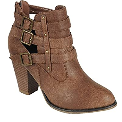 Forever Women's Buckle Strap Ankle Booties camila62,tan,7