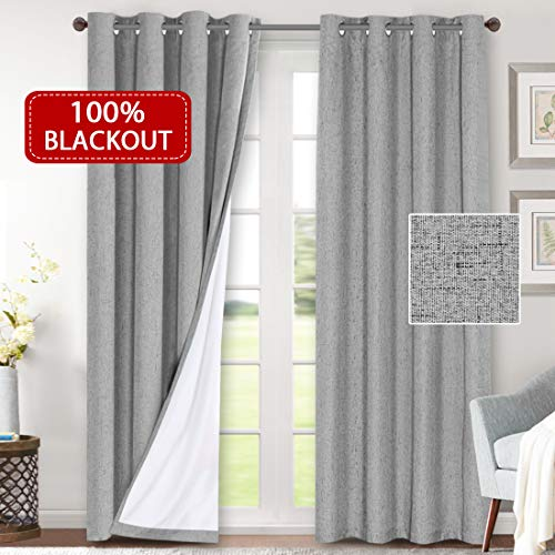 H.VERSAILTEX 100% Blackout Curtains for Bedroom Waterproof Thermal Insulated Curtains 2 Panels with White Liner Linen Textured Window Treatment Room Darkening Drapes(52 x 96 Inches