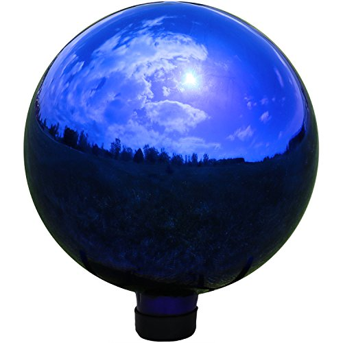 (Sunnydaze Garden Gazing Globe Ball, Outdoor Lawn and Yard Glass Ornament, Reflective Blue Mirrored Surface, 10-Inch)
