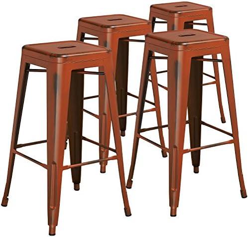 Flash Furniture Commercial Grade 4 Pack 30″ High Backless Distressed Orange Metal Indoor-Outdoor Barstool
