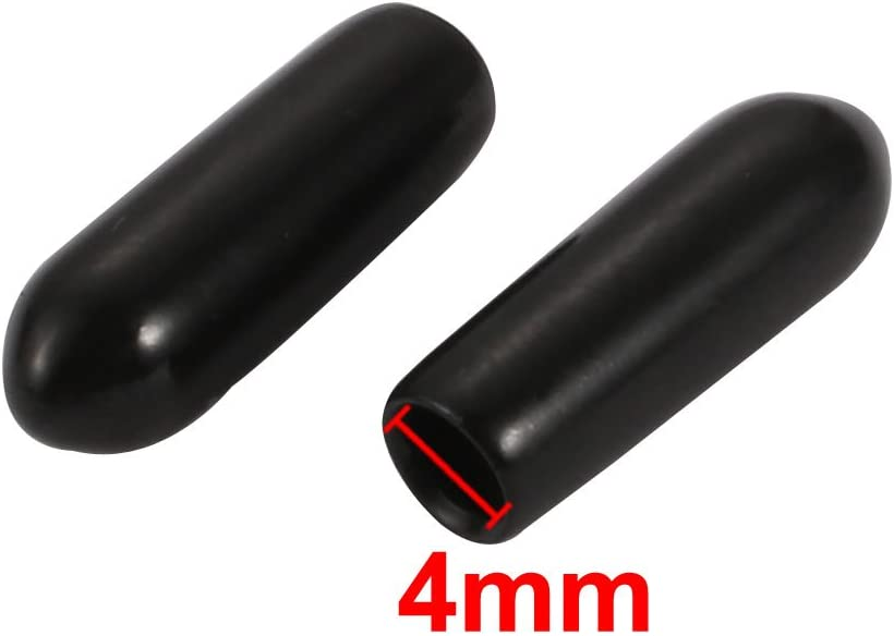 uxcell 20pcs 4mm Inner Dia PVC Flexible Vinyl Cap Screw Thread Protector Cover Black