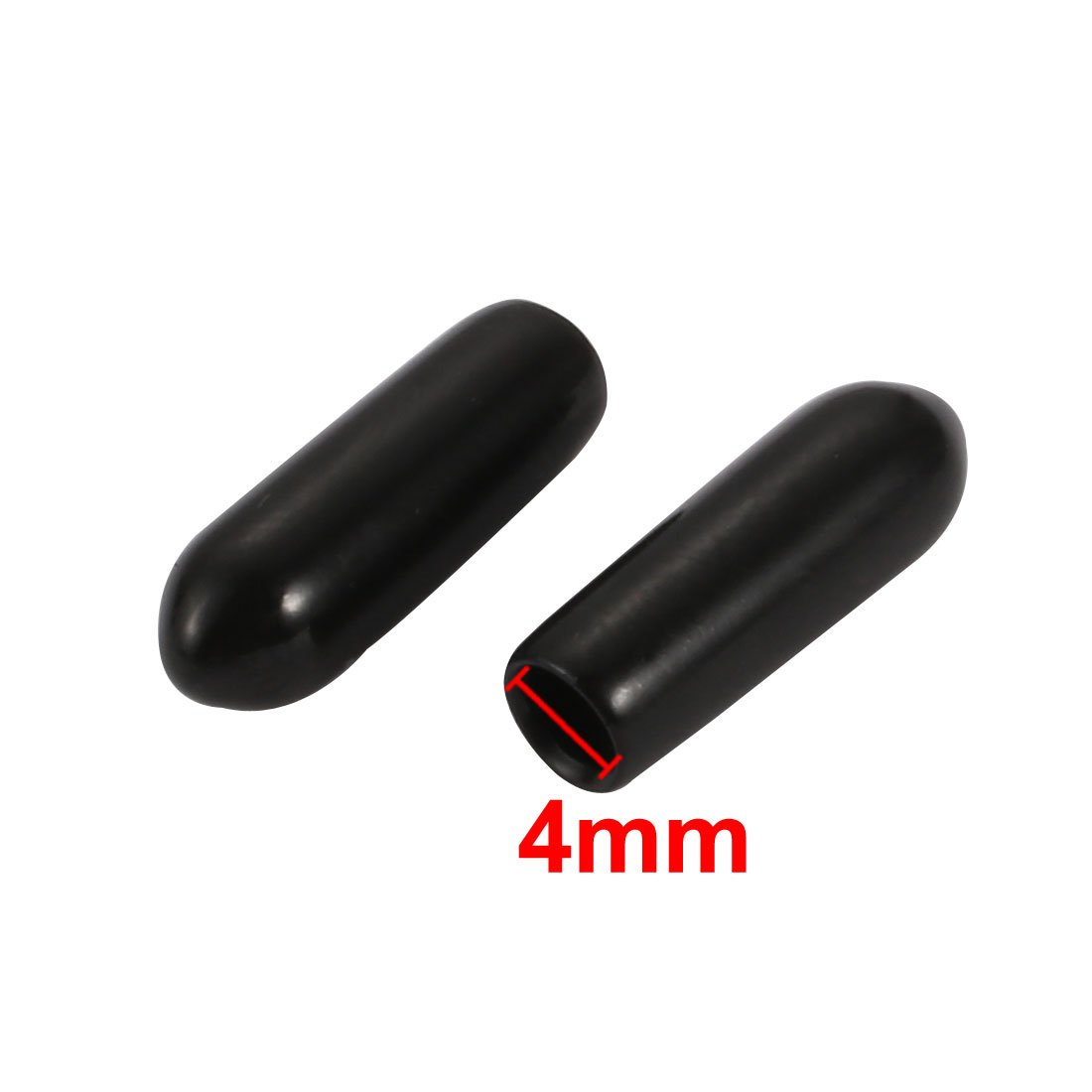 sourcingmap 100pcs 4mm Inner Dia PVC Flexible Vinyl Cap Screw Thread Protector Cover Black