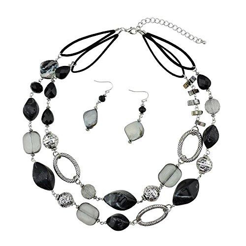 BOCAR 2 Strand Statement Choker Shell Necklace and Earring Set for Women Gift (NK-10370-black) - Choker Set Earrings