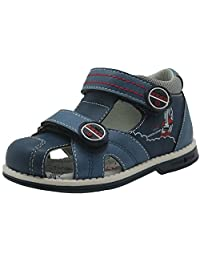 Apakowa Kids Boys Double Adjustable Strap Closed-Toe Orthopedic Sandals
