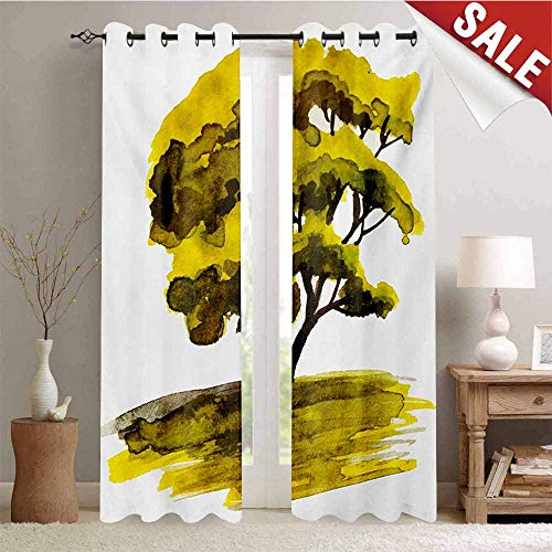 (Nature Decorative Curtains for Living Room Watercolor Hand Drawn Green Oak Tree on Sunset Sketchy Nature Artwork Image Waterproof Window Curtain W108 x L96 Inch Green and White)