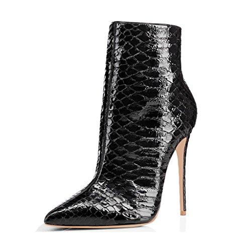 Botas De Tacón Tobillo Con Punta De Mujer Fsj Tacones De Aguja Brillantes Con Estampados Florales Zapatos Talla 4-15 Us Black Snake