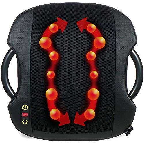 Lumbar Massage Cushion - Shiatsu Massage Cushion with Heat | Lumbar Support Back Massage | Portable Handles for Home or Office | Black