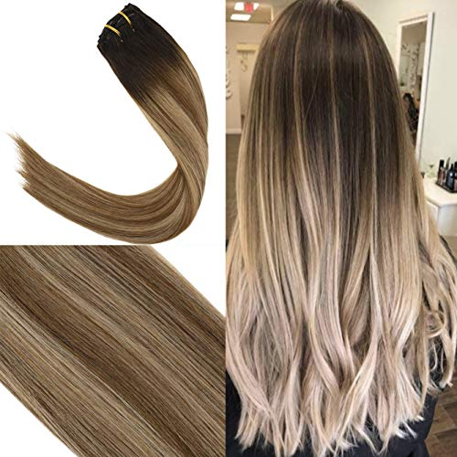 Youngsee 20inch Dip Dyed Remy Human Hair Clip in Extensions Dark Brown Fading to Light Brown Mix Ash Blonde Silk Straight Full Head Clip on Hair Extensions Real Hair 7pcs/120g ()