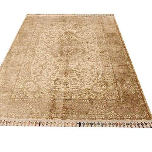 Camel Carpet 5.5'x8′ Vintage Persian Silk Rug Handmade Area Carpet for Livng Room