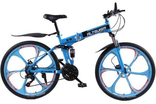 Hot Sales Altruism Xirui X9 Aluminum Mountain Bike 21 Speed 26 Inch Folding Bicycle Blue