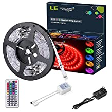 LE 12V Flexible RGB LED Strip Light Kit, Colour Changing, 150 Units 5050 LEDs, Non-Waterproof , Remote Controller and Power Adaptor Included, LED Tape, Pack of 5m