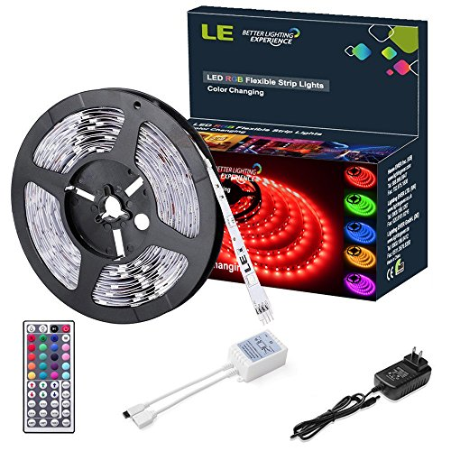 LE-12V-Flexible-RGB-LED-Light-Strip-Kit-Color-Changing-150-Units-5050-LEDs-Non-Waterproof-Remote-Controller-and-Power-Adaptor-Included-LED-Tape-Pack-of-164ft5m