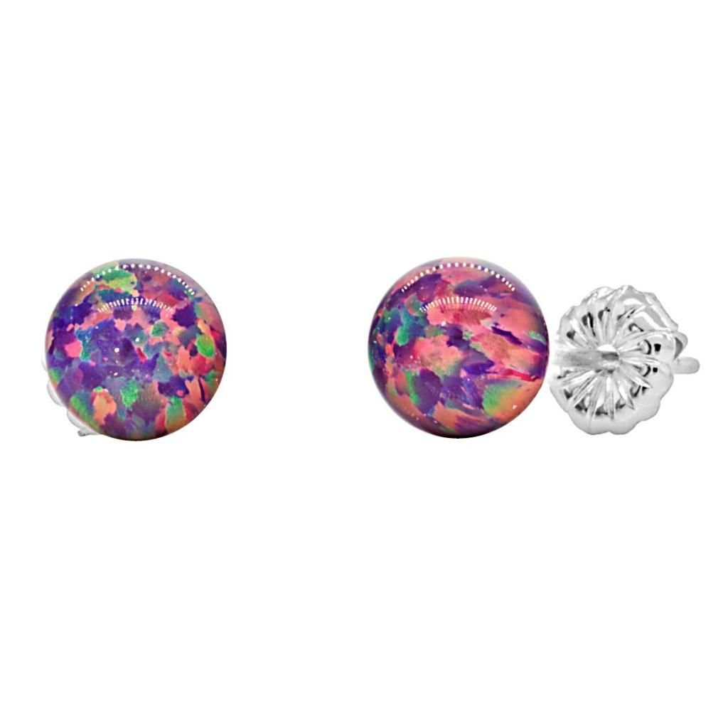 Trustmark 925 Sterling Silver 6mm Created Royal Lavender Opal Ball Stud Post Earrings, Elizabeth