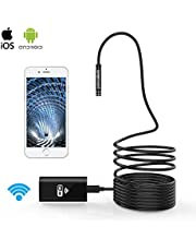 Pancellent Wireless Endoscope WiFi Borescope 2.0 Megapixels HD Inspection Camera Rigid Snake Cable (5 Meters) for IOS iPhone Android Samsung Smartphone