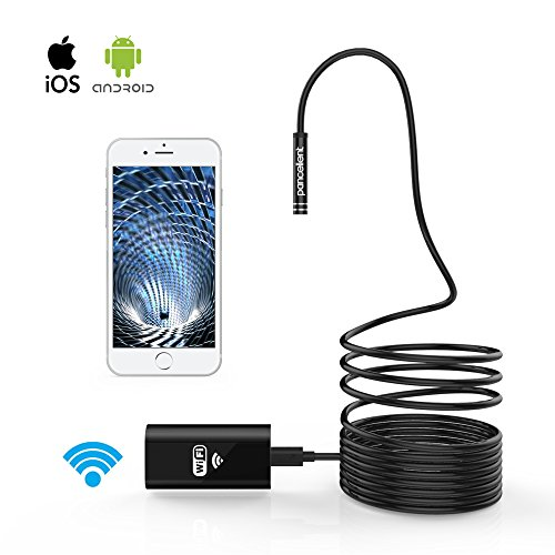 Wireless Inspection Camera Pancellent WiFi Endoscope 2.0 Mega Pixels HD Borescope Rigid Snake Cable (5 Metes) for IOS iPhone Android Samsung Smartphone (WiFi Level)