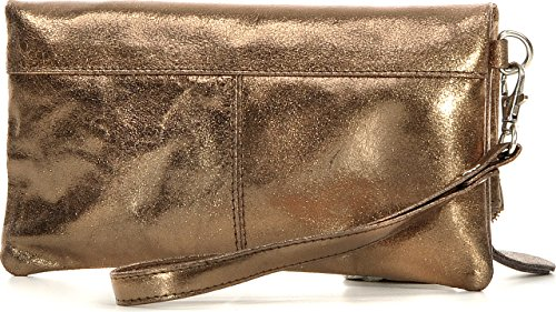 CNTMP - bolso para señora, clutch, bolso clutch,bolso de cuero metálico, bolsos de tendencia, bolsas, bolso de fiesta, bolso de mano, 21 x 11 x 2, 5 cm (l x an x a) Bronce