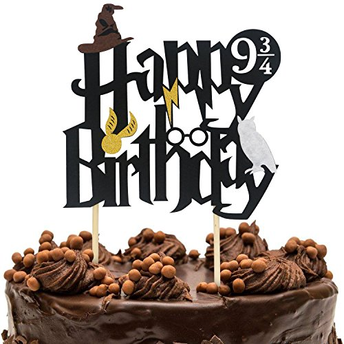 Ceeco Double Sided Glitter Black Harry Potter Inspired Happy Birthday Cake Topper Wizard Party Supplies ()