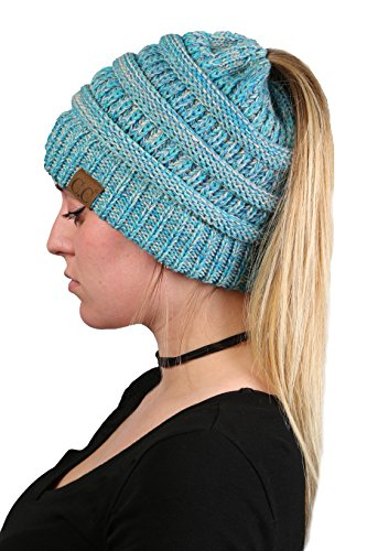 d3ebacd8c06 Funky Junque Women s Beanie Ponytail Messy Bun BeanieTail Multi Color  Ribbed Hat Cap