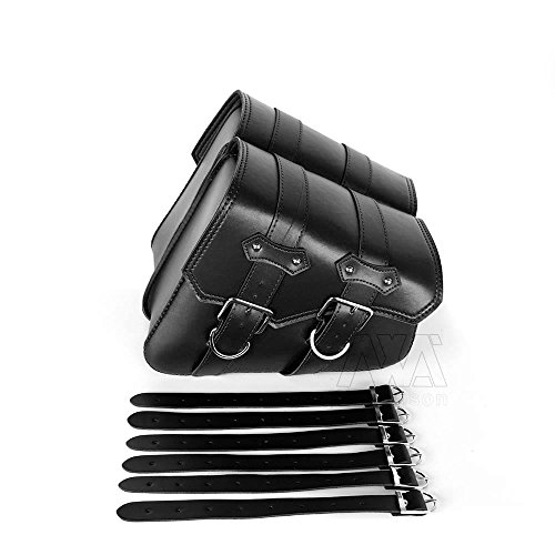 Nawenson 2Pcs Fashion Motorcycle PU Leather Left Right side Saddlebag Tool Luggage Bag Fit For Harley (Black) (Saddlebag Left)