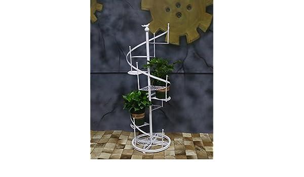 Racks de flores multiusos 1.2 metros de altura Hierro Bastidores de flores estilo europeo Estilo de piso Escalera de caracol Bastidores de flores Múltiples capas Estantería de Bonsai Para interiores y exteriores: