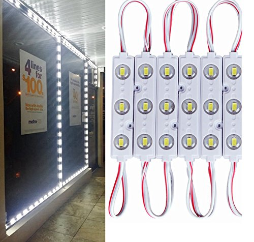 9.8 FT 5730 3 Led Module Light White Waterproof with Self-Adhesive Tape for Sign Lettering Storefront Window Exterior Light,Only LED Lights,12V Power Supply Not Included Exterior Sign Light