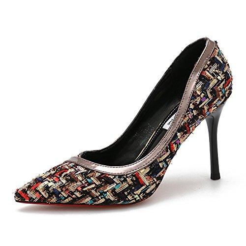 KHSKX-Herbst Neue Sexy Mode Farbe Einzigen Schuh Frau Persönlichkeit Gewirke Flacheren Gut Bei 9Cm Hochhackigen Schuhe black
