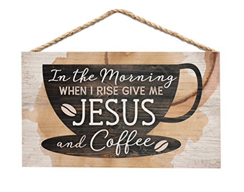 - P. GRAHAM DUNN Morning Give Me Jesus & Coffee Natural 6 x 3.5 Wood Mini Wall Hanging Plaque Sign