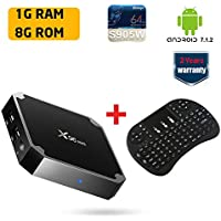X96 Mini Android TV Box Android 7.1 Amlogic S905W 1GB DDR3 8GB eMMC Streaming Media Player with 2.4G Qwerty Wireless Keyboard