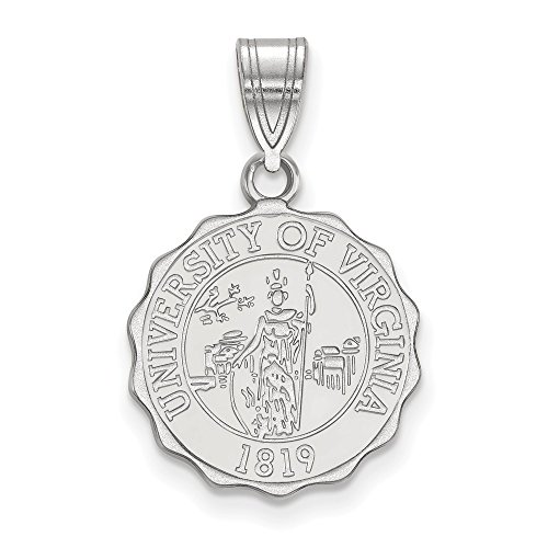 925 Sterling Silver Officially Licensed University College of Virginia Medium Crest Pendant by Mia Diamonds and Co.