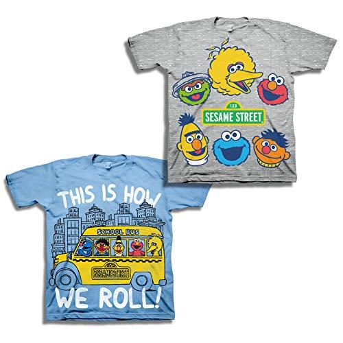 Sesame Street Short Sleeve Shirt - 2 Pack Sesame Street Tees - Elmo, Cookie Monster & Friends (Blue/Grey, 4T)