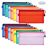 Canvas Tool Pouch, 14 Pieces Colorful PVC Waterproof Zipper Pouches, Double-Layer Plastic Bags for Pen, Pencil, Cosmetics, Travel Supplies, Pack of 14 (Multicolor)