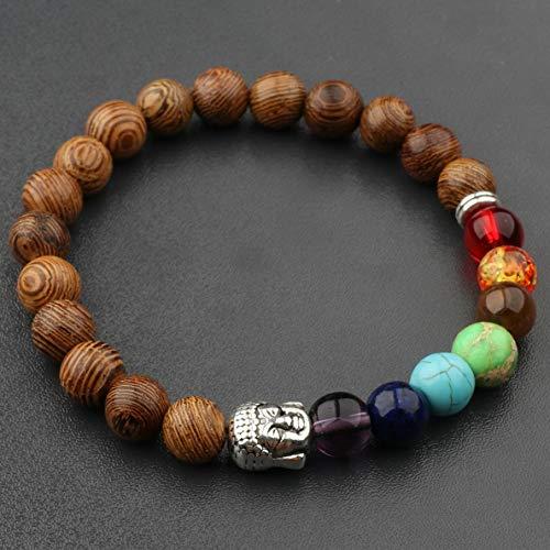 (Hebel Fashion 8MM Multilayer Wooden Beaded Charm Mens Women 7 Chakra Bracelets | Model BRCLT - 30866 |)